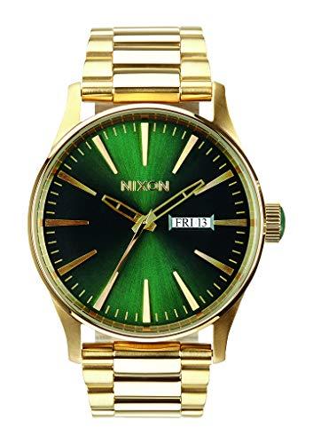 Nixon Mens Sentry SS Gold Green Sunray Watch