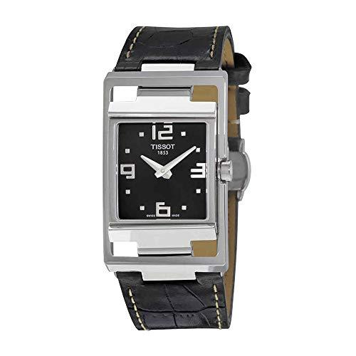Tissot My-T Open Black Dial Black Leather Ladies Watch
