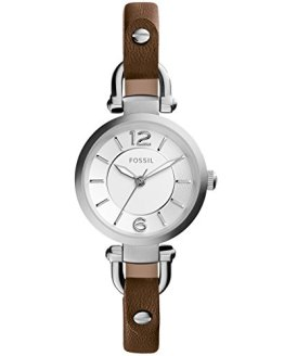 Fossil Women's Mini Georgia Quartz Stainless Steel and Leather Casual Watch