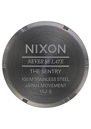 Nixon Mens The Sentry Leather Watch - Black/Gunmetal Grey