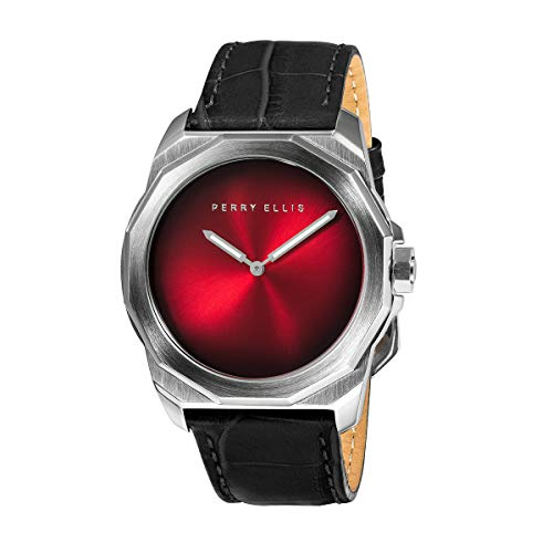 Perry Ellis Mens Watch Decagon Fading Dial 44mm Quartz Luminous Watch
