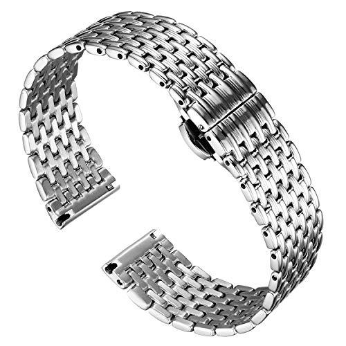 BINLUN Thin Mesh Stainless Steel Watch Bracelets Light Replacement Watch