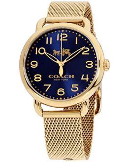 Coach Women's Delancey Gold Tone Stainless Mesh Bracelet Blue Dial Watch