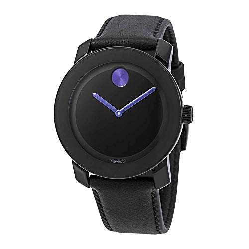 Movado BOLD BLACK LEATHER STRAP BLACK PURPLE DIAL ACCENTS UNISEX