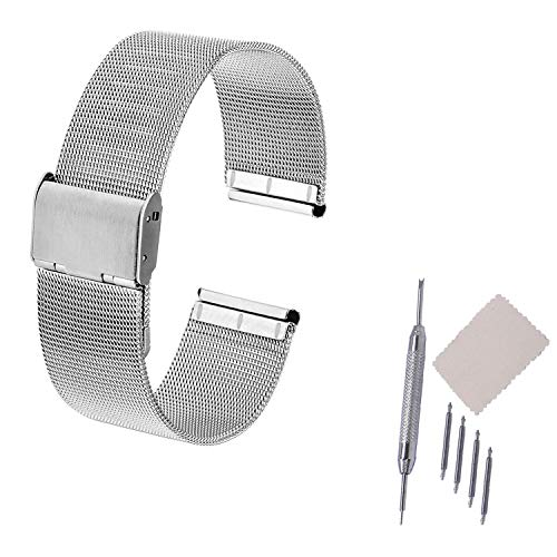 20/22mm Thin Solid Milan Mesh Stainless Steel Strap with Hook Buckle Classic