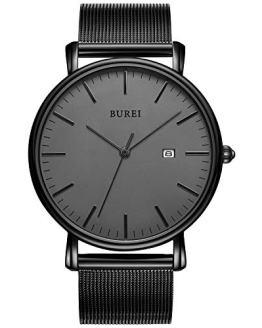 BUREI Men's Watch Ultra Thin Quartz Analog Wristwatch Date Calendar