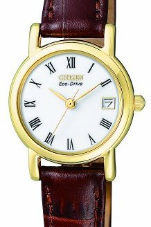 Citizen Ladies Eco-Drive Watch with White Dail Analogue Display and Brown Leather
