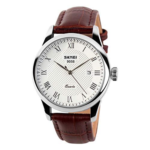 Men's Brown Leather Strap Watches Easy Reader Date Watches Quartz Waterproof Wrist Watch