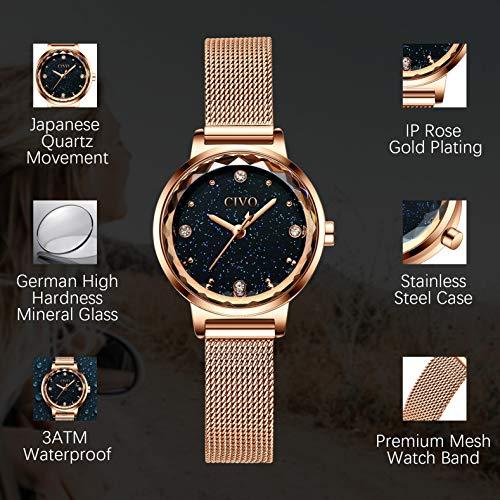 CIVO Women Watches Ladies Stainless Steel Watch Waterproof Luxury Fashion
