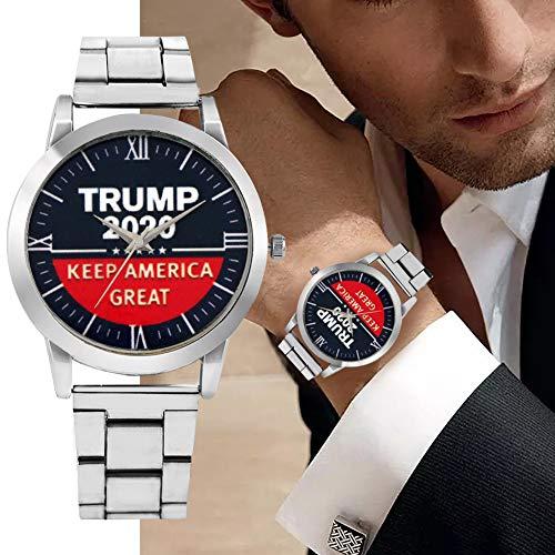 RORISV Men Watch Trump 2020 dial Stainless Steel Strap Wristwatch