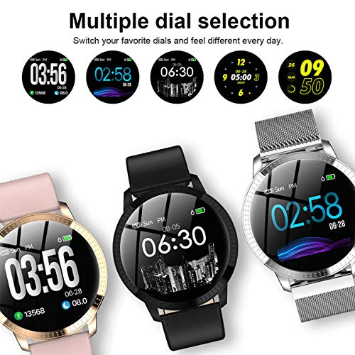 """Smart Watch for Women Step Calorie Counter Heart Rate Monitor Outdoor Music   MULTIFUNCTION:1.Pedometer:Step/Calorie/Distance 2.Sleep Tracker 3.Sport Modes 4.Heart Rate 5.Reminders:Alarm/Call/Sedentary Reminder 6.Notification Support 7.IP67 Waterproof 8.Remote Camera 9.Alarm 10.Blood Pressure(for reference only) 11.Anti-Lost 12.Music Watch 13.Reject Call Use 1.22 inches of high-definition color screen to give you bigger and clearer experience,zinc alloy case,a highly sensitive color screen with leather and metal strap,make the watch look more textured.Multiple dial selection,it is suitable for any occasion Multiple Sports Modes:Support multiple sports modes.It can real-time monitoring movement state the number of steps,calories,distance.No need to connect the phone,the sports data is clear at a glance Synchronous Display:With the phone synchronous display to alert the call,at the same time display name or phone number,support SMS,email and other social media message read,it also can reject the call, and it is more convenient to handle the harassing call Concerned About Health:the smart watch has heart rate monitor function,analysis of blood flow under the skin through the green light sensor LED light.Help you know your body better   Features:</p> <p>Multifunction: - Pedometer:steps,calories,distance - Sleep Tracker - Heart Rate&Blood Pressure?for sport use only? - Sports Modes - Reminders:Alarm/Call/Sedentary Reminder - Notification Support - Remote Camera - IP67 Waterproof - Music Control - Reject Call - Anti-Lost - Alarm</p> <p>Specification: Dial Shape:Round Case Material:Zinc Alloy Band Material:Leather Clasp Type:Buckle Color:Black,Pink,Silver</p> <p>Dial Case Diameter:41mm(1.61"""") Dial Case Thickness:12mm (0.47"""") Product Weight:35g</p> <p>Notes: - When you download the mobile APP,connect the watch with APP(DO NOT use the mobile phone Bluetooth to connect the watch) - Waterproof:IP67 Waterproof - DO NOT suitable for hot water bathing,diving,swimming,water-relate"""