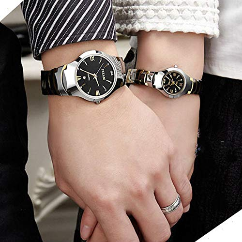 JewelryWe Men's Womens Wrist Watch Tungsten Carbide Calendar Quartz His