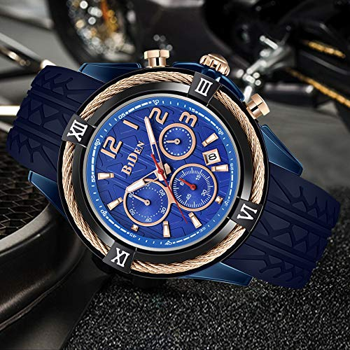 Mens Watches Analog Quartz Gold Black Silicone Strap Big Dial Wrist Watch   ?Chic Design?This is a multifunction chronograph,designed with 3 unique small dials, classic and stylish.With a gold black dial and calendar function that is easy to read. A stylish, luxurious and casual watch designed for men, suitable for all occasions. ?Quality Materials?The watch glass is made of high hardness glass lenses. Imported Japanese quartz movement. Wear resistant black silicone bracelet,comfortable and breathability. It is the best gift for family, friends, colleagues, Christmas, New Year, Anniversary, and birthday. ?30m Life Waterproof?This watch has 30M waterproof function, can withstand sweat, rain splash and hand washing. Not suitable for hot baths and diving. For the life of the watch, please do not operate any buttons under water. ?Night Life?The watch is illuminated by strong light, and the pointer absorbs enough light. The pointer can glow in the dark, and you can easily to read the time and calendar at night. ?Buy With Confidence?We are committed to ensuring 100% customer satisfaction. If you have any questions about our products, please email to us anytime. We will reply all your questions within 24 hours.   Brand?BIDEN Material? Movement:Japanese Quartz Movement Band:Black Silicone Strap Case:Stainless Steel Waterproof:30M Dial Color:Gold black Mirror Material: Mineral Glass</p> <p>Specification: Dial Case Diameter: 46mm Dial Case Thickness: 12mm Band Width: 24mm Band Length: 245mm Band Clasp Type: Buckle Watch Weight: 84g</p> <p>Package Include: 1*Men's Wrist Watch 1*Quartz Watch English Instruction 1*Luxurious Paper Watch Box 1*High Quality Microfiber Cleaning Cloth</p> <p>NOTE: 1.Please DONOT wear this watch when diving. Also avoid the use in extreme hot or cold temperature. 2.Clean the strap by a soft cloth on regular bases is highly recommended. 3.Too much water contact will shorter watch life.