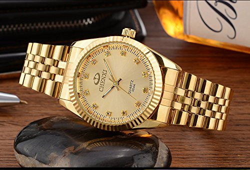 Classic Golden Stainless Steel Unisex Luxury Quartz Wrist Watches