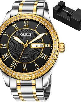 OLEVS Mens Watch Gold Wrist Watches Waterproof Quartz Large Face Black