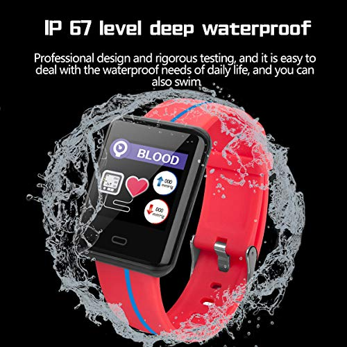 "Smart Watch Sport Mode Calorie Counter Heart Rate Sleep Tracker Blood Pressure   Highlight Design:1.3 inch large color screen,give you different visual experience,dazzling color screen,designed a variety of dial interface,can be freely switched to use according to demand.Universal watch strap,light pull and disassemble selected 316 fine steel quality The smart watch have perfect performance and accurate measurement.Skin color detection mechanism can meet different skin color people.Heart rate and real-time fitness monitor,and can analyze your body data via the connection to your phone and provide you with fitness data Remote Monitor:This smart watch can monitor our body health.It can find and detect our health data,display risk status and evaluation results.Also can remote monitoring of family members'health through mobile phone APP.It is a amazing gift for family numbers MULTIFUNCTION:1.Pedometer 2.Heart Rate&Blood Pressure(for sport use only) 3.Anti-Lost 4.Sport Modes 5.Reminders:Alarm/Call 6.Notification Support 7.IP67 Waterproof 8.Remote Camera 9.Care Function Sleep Assistant:Automatically record your daily sleep quality,analyz sleep period and time,monitor sleep heart rate,and provide suggestions to improve sleep quality   Features:</p> <p>Multifunction: - Pedometer:steps,calorie consumption,distance - Sleep Monitor - Heart Rate&Blood Pressure(for sport use only) - Sport Modes - Reminders:Alarm/Call - Notification Support - IP67 Waterproof - Remote Camera - Care Function</p> <p>Specification:  Dail Shape:Rectangle Band Material:TPU Clasp Type:Buckle Color:Black,Blue,Red</p> <p>Dial Case Diameter:33mm(1.30"") Dial Case Thickness:10mm (0.39"") Product Weight:80g</p> <p>Notes: - Waterproof: IP67 Waterproof - DO NOT suitable for hot water bathing,diving, swimming,water-related work</p> <p>Hardware: Screen Size:1.3-inch IPS color display,resolution:240*240 Charging Type:Magnetic Charge Charging Time:About 2 Hours Data Save Time:3 Months Bluetooth:Bluetooth4.0 Battery:180mAh Long Standby Time:One full charge gives you(7-15 days of working time,)standby time up to 30 days</p> <p>Requires: IOS 8.2 or above,Android 4.4 or above Languages:Multifarious Languages</p> <p>What's in the box? - 1*Watch - 1*Watch Box - 1*User Manual - 1*Charging line</p> <p>Any questions, please kindly contact us, we would always offer best solution to you."