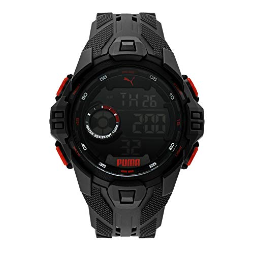 PUMA Men's Quartz Watch with Plastic Strap, Black