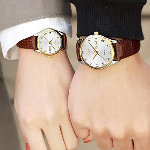 OLEVS Couples Watches Set for Men and Women with Retro Leather Band Brown