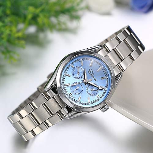 JewelryWe Womens Watches 3 Eyes Round Quartz Watch Silver Tone Stainless Steel