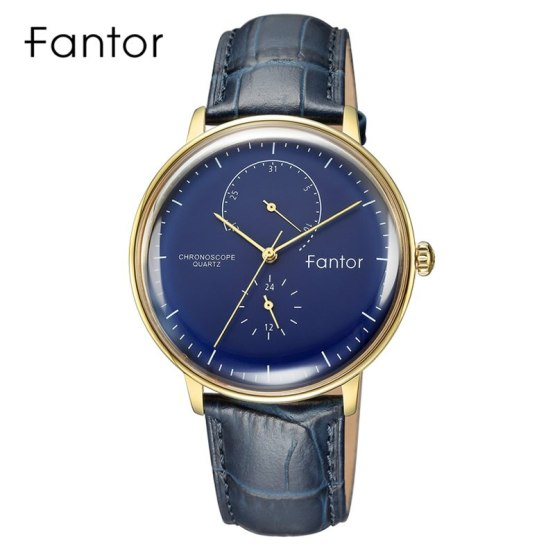 Classic Men Luxury Chronograph Blue Leather