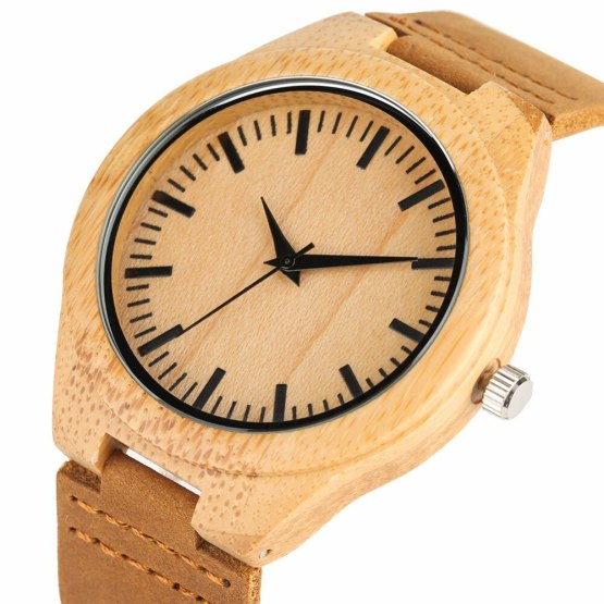 Bamboo Wooden Watches Genuine Leather Band