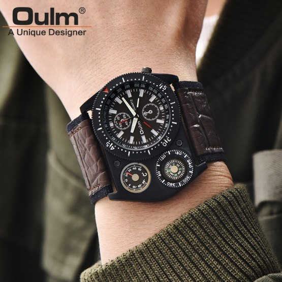 Oulm Males's Wrist Watches Unique Design Wide Leather Strap