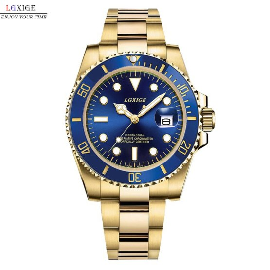 LGXIGE Brand Gold Mens Watches Top Brand Luxury Full Steel