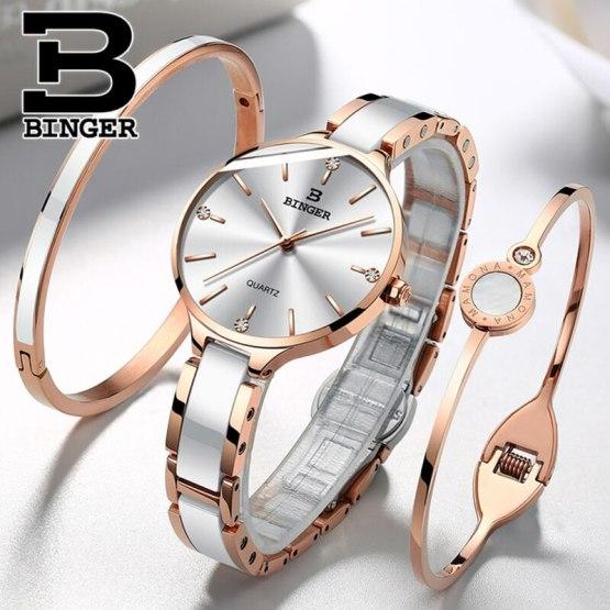 Switzerland BINGER Luxury Women Watch Brand Crystal