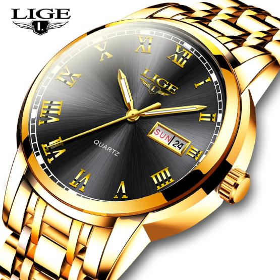 LIGE Men Gold Wrist Watch Fashion Sport