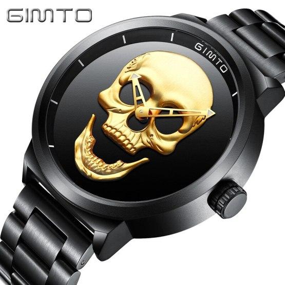 Skull Watch Black Full Steel Unique Mens Wrist Watch