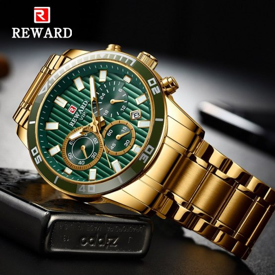Males's Gold Watch Green Dial Stainless Steel Band Date