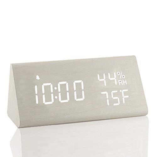 Digital Wooden Alarm Clock 3 Level Brightness & Temperature