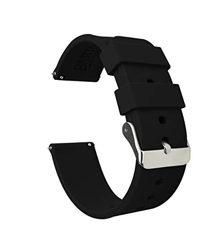 Soft Silicone Quick Release Straps 22mm Black Watch Band