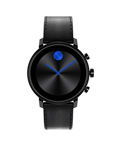 Movado Connect Black Leather Smartwatch with Wear OS by Google