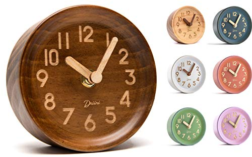 Driini Wooden Desk, Table Analog Clock Made of Genuine Pine