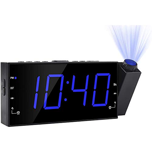Projection Alarm Clock, FM Radio Ceiling Wall Clock