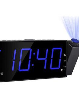 Projection Alarm Clock, FM Radio Ceiling Wall Clock