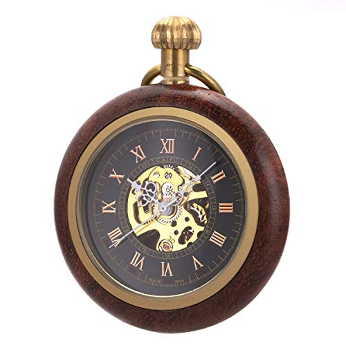 Pocket Watch Case Skeleton Mechanical SIBOSUN Men Bronze Chain