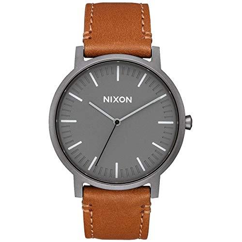 Nixon Porter Leather . Gunmetal Grey and Tan Leather Men's Watch