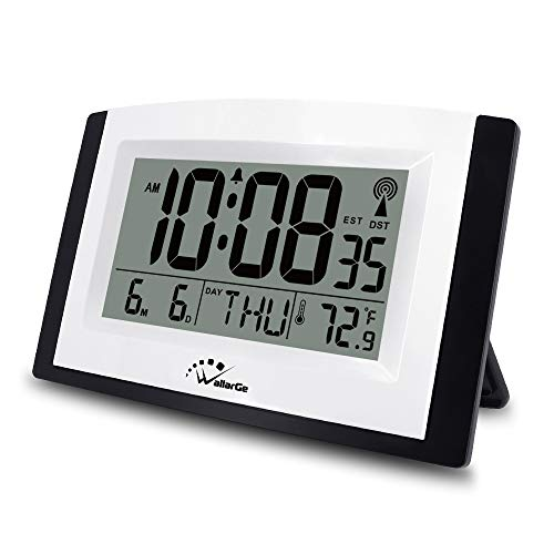WallarGe Atomic Clock with Night Light,Digital Wall Clock