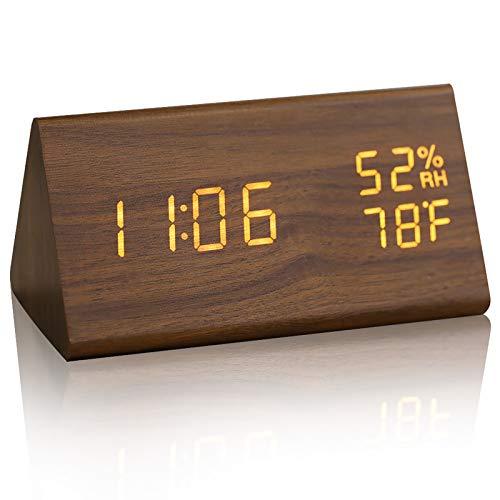 JCHORNOR Wood Digital Alarm Clock, Led Time Display Wooden