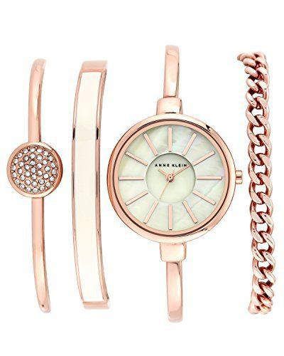 Gold-Tone Watch and Swarovski Crystal Bracelet Set