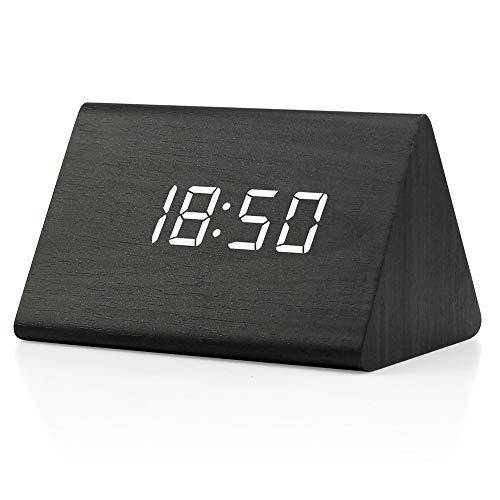 OCT17 Wooden Wood Clock , 2020 New Version LED Alarm