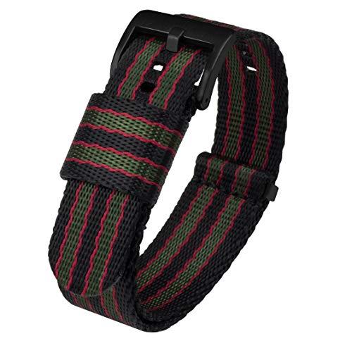 22mm Black Buckle Seat Belt Nylon Watch Bands