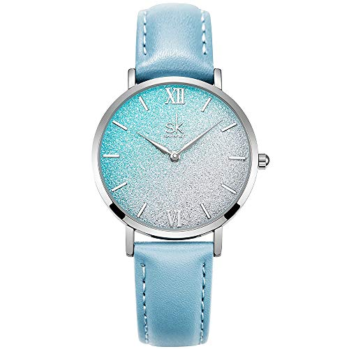 Ultra Thin Shell Dial Women Watch with Genuine Leather
