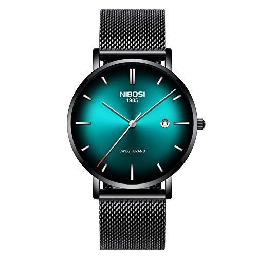 Ultra Thin Wrist Watch Black Green Dress