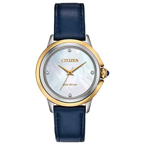 Blue Citizen Quartz Watch with Leather Strap