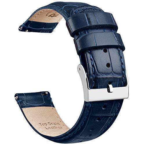 Ritche Navy Blue Leather 20mm Watch Band Alligator Watch