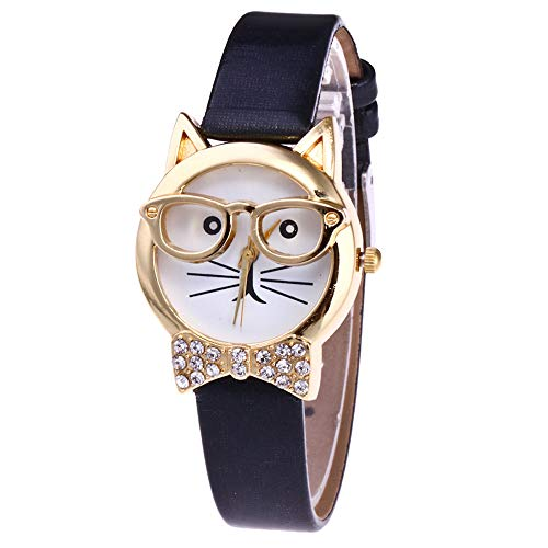 Women Watch, 2020 Cute Glasses Cat Analog Quartz