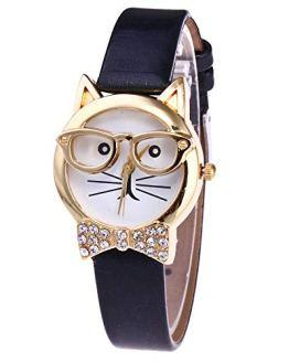 Women Watch, 2020 Cute Glasses Cat Analog Quartz